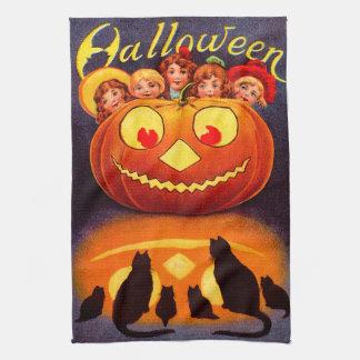 Niños Jack O Lantern y gatos Toalla