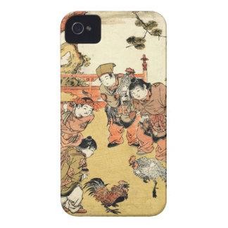 Niños japoneses y gallo del ukiyo-e fresco del iPhone 4 Case-Mate protector