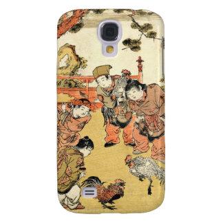 Niños japoneses y gallo del ukiyo-e fresco del vin