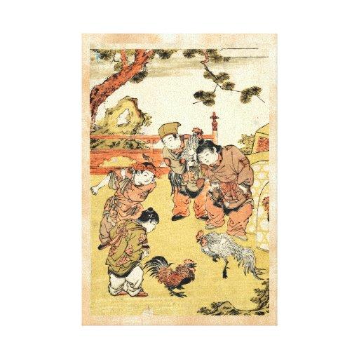 Niños japoneses y gallo del ukiyo-e fresco del vin impresiones en lienzo estiradas