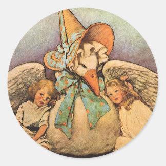 Niños Jessie Willcox Smith de la mamá ganso del Pegatina Redonda
