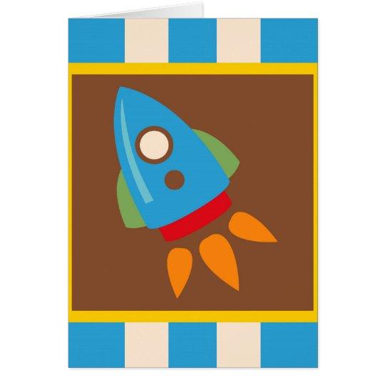 Niños lindos del azul del espacio exterior de tarjeta de felicitación