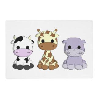 Niños lindos del dibujo animado del hipopótamo de salvamanteles