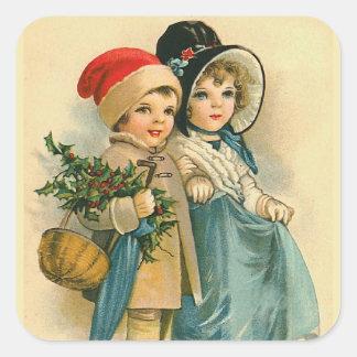 """""""Niños lindos del navidad """" Pegatina Cuadrada"""