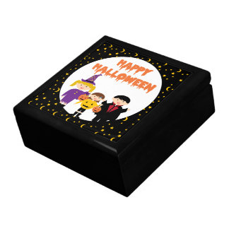 Niños lindos del truco o de la invitación del feli cajas de regalo