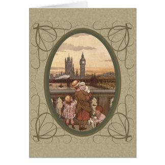 Niños lindos del vintage en el puente de Londres Tarjeta De Felicitación