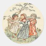 Niños lindos del vintage pegatina redonda