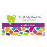 Niños lindos dentales de la jirafa de la tarjeta d tarjeta de visita