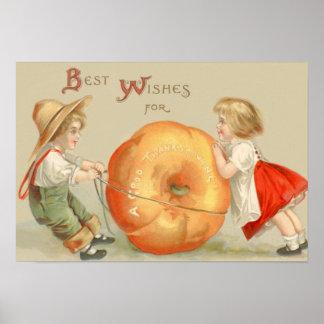 Niños lindos que ruedan la calabaza póster