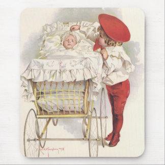 Niños, niño y bebé del Victorian del vintage en Mouse Pad