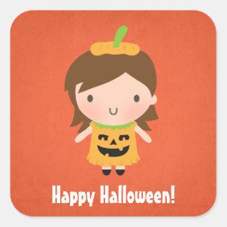 Niños no tan asustadizos lindos Halloween del Colcomanias Cuadradases