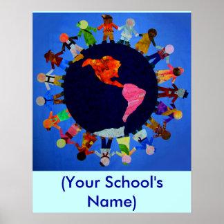Niños pacíficos del mundo - poster adaptable