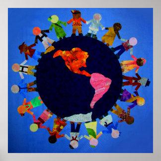 Niños pacíficos en todo el mundo posters