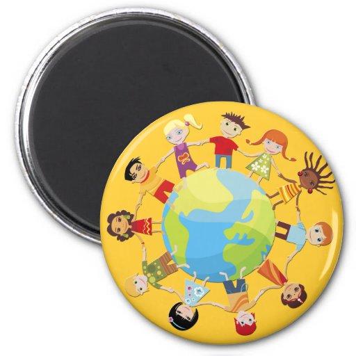 Niños para la paz de mundo imanes para frigoríficos