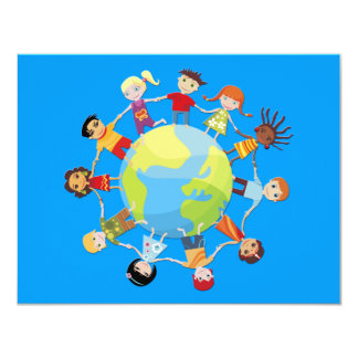 Niños para la paz de mundo invitación 10,8 x 13,9 cm