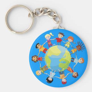 Niños para la paz de mundo llavero