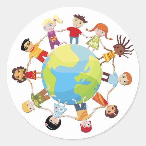Niños para la paz de mundo etiquetas redondas