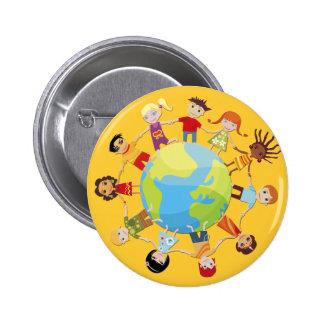 Niños para la paz de mundo pin redondo 5 cm