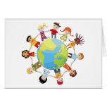 Niños para la paz de mundo tarjeta de felicitación