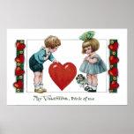 Niños, perro y tarjeta del día de San Valentín gra Poster