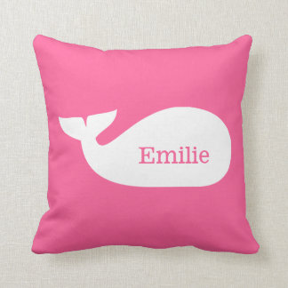 Niños personalizados ballena caprichosa rosada almohada