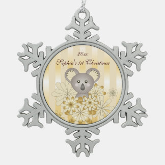 Niños personalizados rayados oro lindo de la koala adorno de peltre en forma de copo de nieve