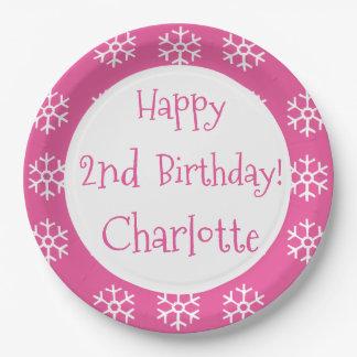 Niños personalizados rosa del cumpleaños del platos de papel