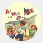 Niños playa arte de la postal del vintage de la pegatina redonda