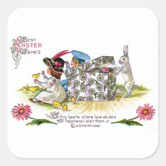 Niños, polluelos y vintage curioso Pascua del Pegatina Cuadrada