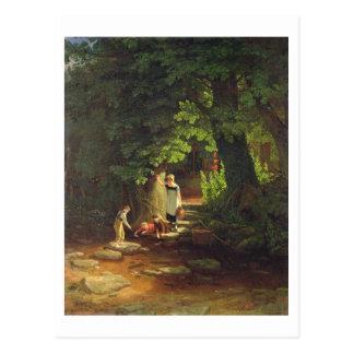Niños por un arroyo, c.1822 (aceite en el panel) tarjeta postal