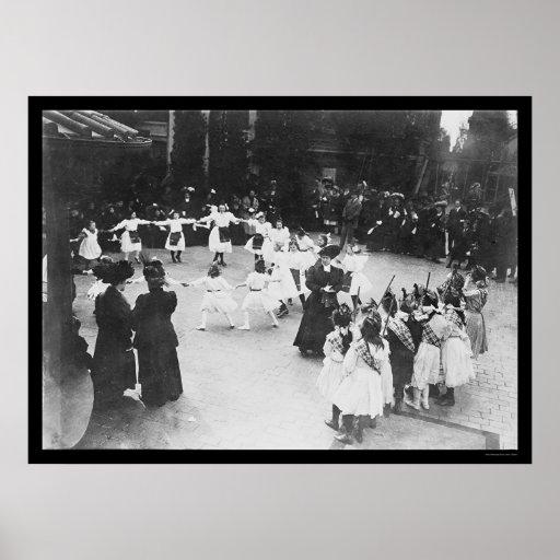 Niños que bailan en el tejado del Waldorf NYC 1919 Póster