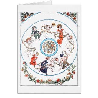 Niños que bailan en un anillo tarjeta de felicitación