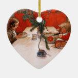 Niños que comen cena adorno de cerámica en forma de corazón