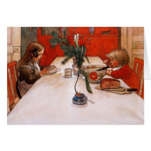 Niños que comen cena tarjeta de felicitación