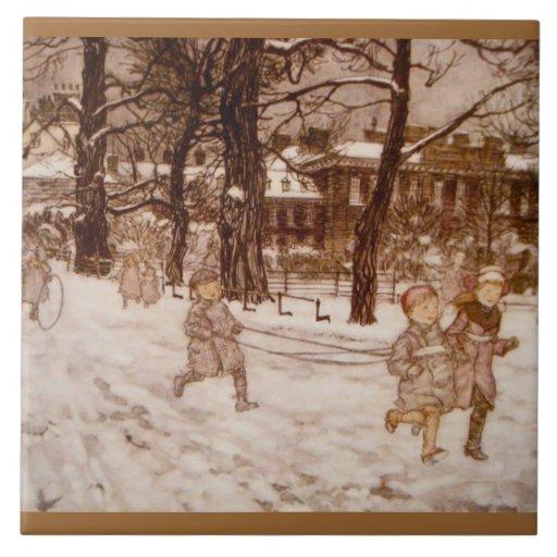 Niños que corren en la nieve teja  ceramica