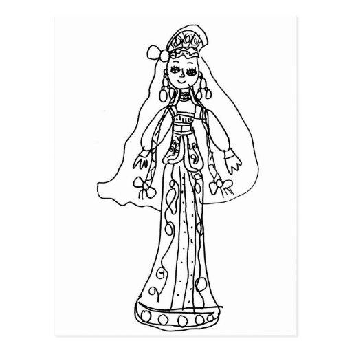 Niños que dibujan, chica en traje tradicional tarjeta postal