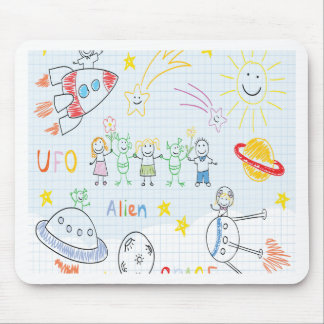 Niños que dibujan, espacio, extranjeros, universo, tapetes de ratones