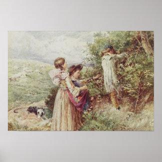 Niños que escogen las zarzamoras, siglo XIX Póster