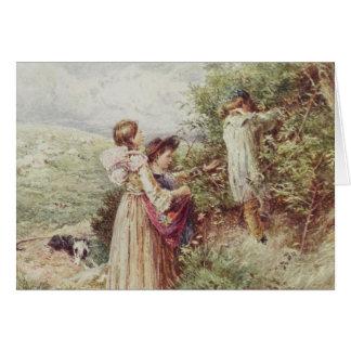 Niños que escogen las zarzamoras, siglo XIX Tarjeta De Felicitación