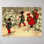 Niños que esquían, una escena del invierno del vin poster