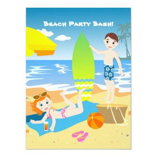"""Niños que gozan de la playa invitación 6.5"""" x 8.75"""""""