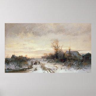 Niños que juegan en un paisaje del invierno póster