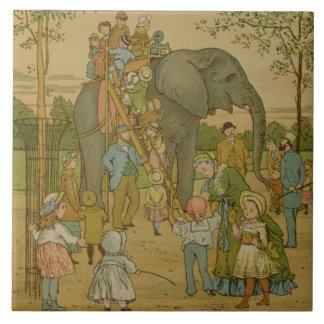 Niños que montan en el elefante (litho) azulejo cuadrado grande