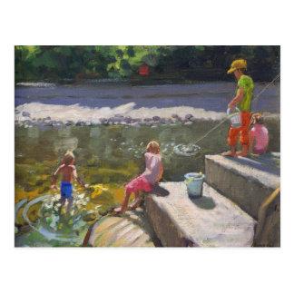 Niños que pescan Looe Cornualles 2014 Postal