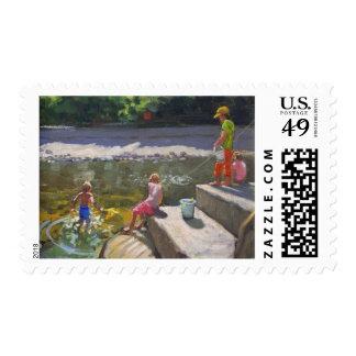 Niños que pescan Looe Cornualles 2014 Sellos