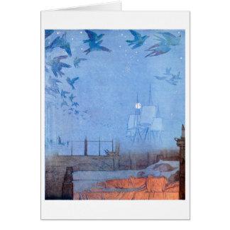 Niños que soñan con pájaros y velas tarjeta de felicitación