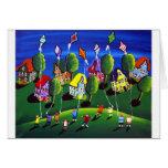 Niños que vuelan arte popular de las cometas tarjetas