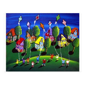 Niños que vuelan arte popular de las cometas postales