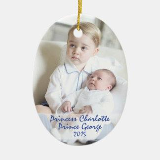 Niños reales - George y Charlotte Adorno Navideño Ovalado De Cerámica