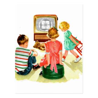 Niños retros de la televisión del kitsch TV del Tarjeta Postal